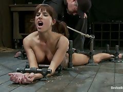 Hot MILF bound down, and fucked in the ass with a a machine until she...