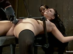 Two girls suffer though an intense BDSM live show.  All action...