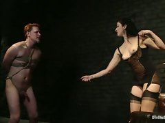 Sadistic dominatrix humiliates new ass kissing slaveboy having a...