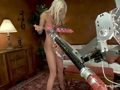 PUMA SWEDE machine fucked by robots with tongues and drills for...