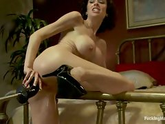 Squirting MILF pinup hottie cums hard from hooked black dong going...