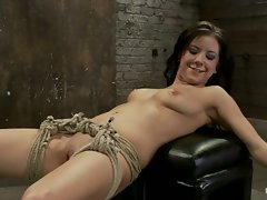 Sexy girl next door is bound & suspended, stretched to the limits of...