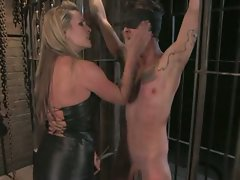 Mistress Harmony Rose Electrocutes and ass-fucks bitch boy...