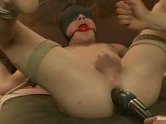 Trent Diesel is tied up Japanese style and edged on a tatami mat....