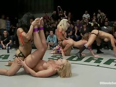 5 girl brutal rough sex gang bang on Ultimate Surrender.  The...