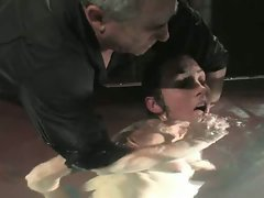 sexy slave bound, hot waxed and sprayed with water...