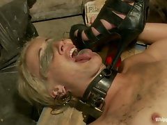 Curious blonde finds a pussy in a glory hole and is punished and...