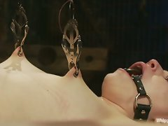 Petite gorgeous sub is bound in restrictive bondage and mercilessly...