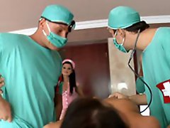What happens when a naughty nurse is sent in to assist 5 horny...