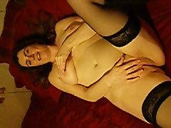British brunette  masturbates and talks dirty