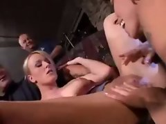 blonde MILF slut in 3some