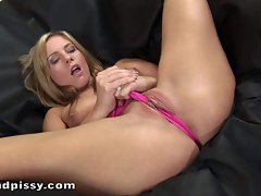 Blond chick Jessica Rox in pink socks and panties plays