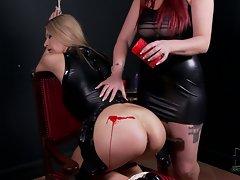 Bound slave blonde Carol gets her tiny bare ass punished
