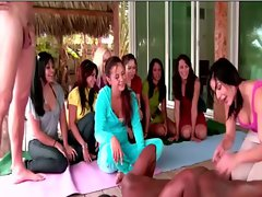 Cfnm yoga sluts get off on  bending and stretching guys