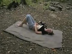 Couple Has Sex On A Blanket In The Forest