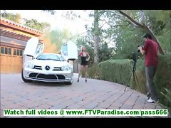 Carolyn cute amateur blonde in short dress flashing panties in public