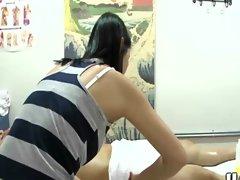 Asian hottie sucks her clients cock