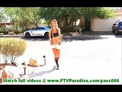 Anne badass blonde undressing and naked with skipping rope and toying pussy with skipping rope