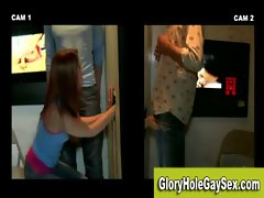 Tight ass chick gets tricks straighty into a gay blowjob