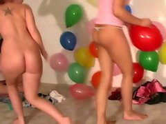 Teen babes getting hot at party with each other