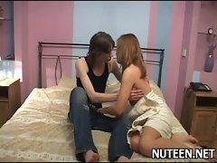 Lustful man kisses girl&#039_s tits