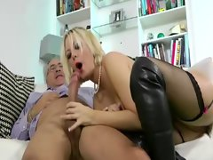 Stockings horny amateur blonde