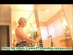 Chloe innocent young blonde girl with natural tits posing naked in front of mirror