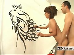 Rear intercourse action with painting Japanese artist