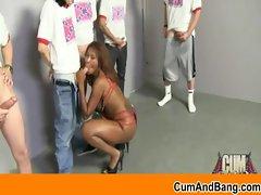 Interracial gangbang Ebony slut sucking white cocks 22