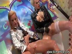 Horny lesbos love the gloryhole