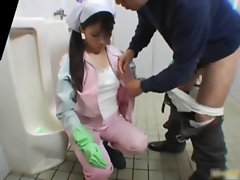 Real asian toilet attendant is up the mens