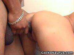 Hot brunette babe sucking big fat black