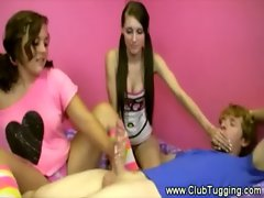 Teenagers are giving a handjob