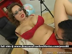 Sexy redhead teacher on the desk gets her pussy licked