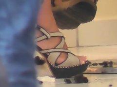 Voyeur dark haired in high heels (Candid street) 2