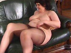 Plumper grandma in pantyhose