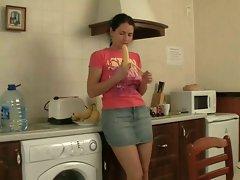 Shaggy sister backdoor fun in kitchen
