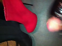 cumming black and red ankel boots