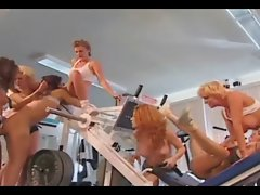 Lezzies Orgy in Gym