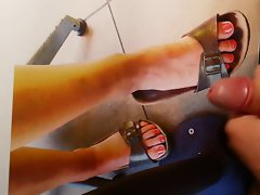 Tribute cum on kiwi4545 girlfriend feet with birkenstock sandals