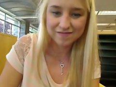 So Seductive Light-haired Masturbation Webcam In Library
