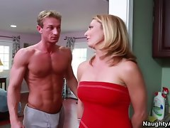 Tempting blonde Mommy Brenda James crushed by hung football stud