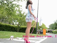 luscious teen skipping rope high heels without panty (upskirt)