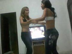 Wrestling: 2 Brazilian Barely legal teen Cute chicks