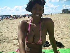 New Tart Jazzy At The Beach With Weeny Bikini! :D