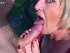 Attractive mature slutty mom Monieka licks prick and squirts like wild