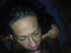 Luscious Transsexual sissy young man strokes me clean after cumming