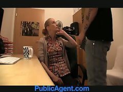 PublicAgent Blondie in glasses gets shagged on my office desk