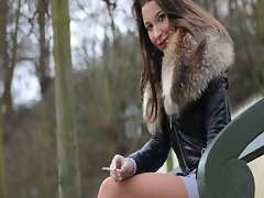 Belgium Sizzling teens smoking in miniskirt & dangling high heels