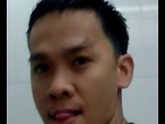 Thai student jack of in public toilet